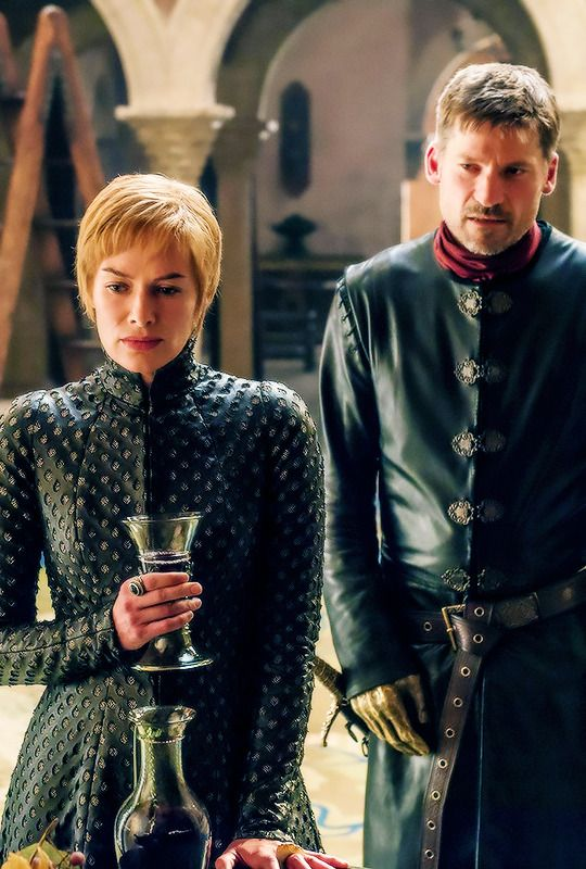 """GoT, S7, ep 1--Jaime wants to talk about Tommen, Cersei doesn't. Nobody brings up the hundreds of people she murdered last season. Why mention it? It's all good. Do you, girl. I think I can count on one hand the number of scenes Cersei's been in without her constant companion, a glass of wine. And she's thoroughly confused about what the word """"dynasty"""" means."""