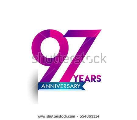ninety seven years anniversary celebration logotype colorfull design with blue ribbon, 97th birthday logo on white background