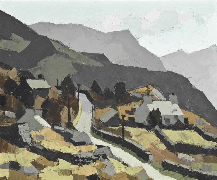 Kyffin Williams (Welsh, 1918-2006), Fachwen, near Llyn Padarn, c.1950. Oil on canvas, 20 x 24 in.