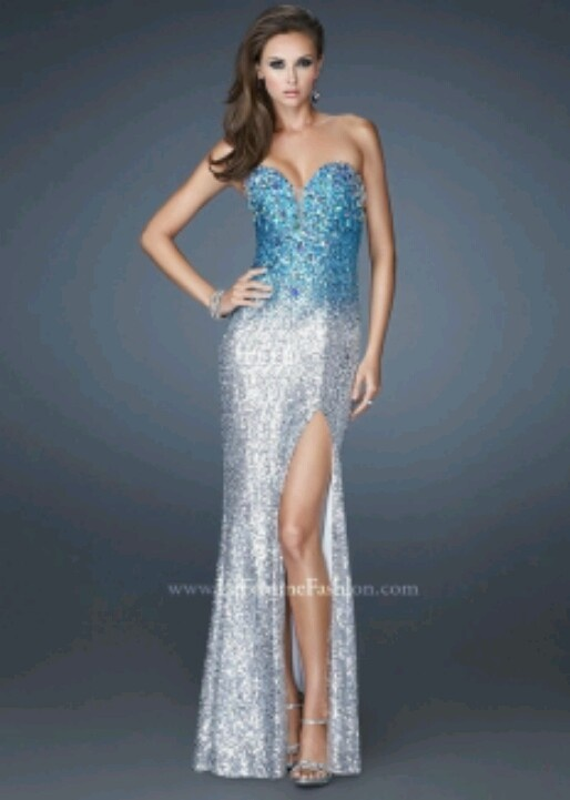 Blue ombre prom dress