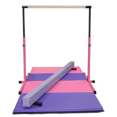Little Gym - Pink Adjustable Horizontal Bar, 8ft Purple Low Balance Beam and Pink and Purple Folding Gymnastics Mat