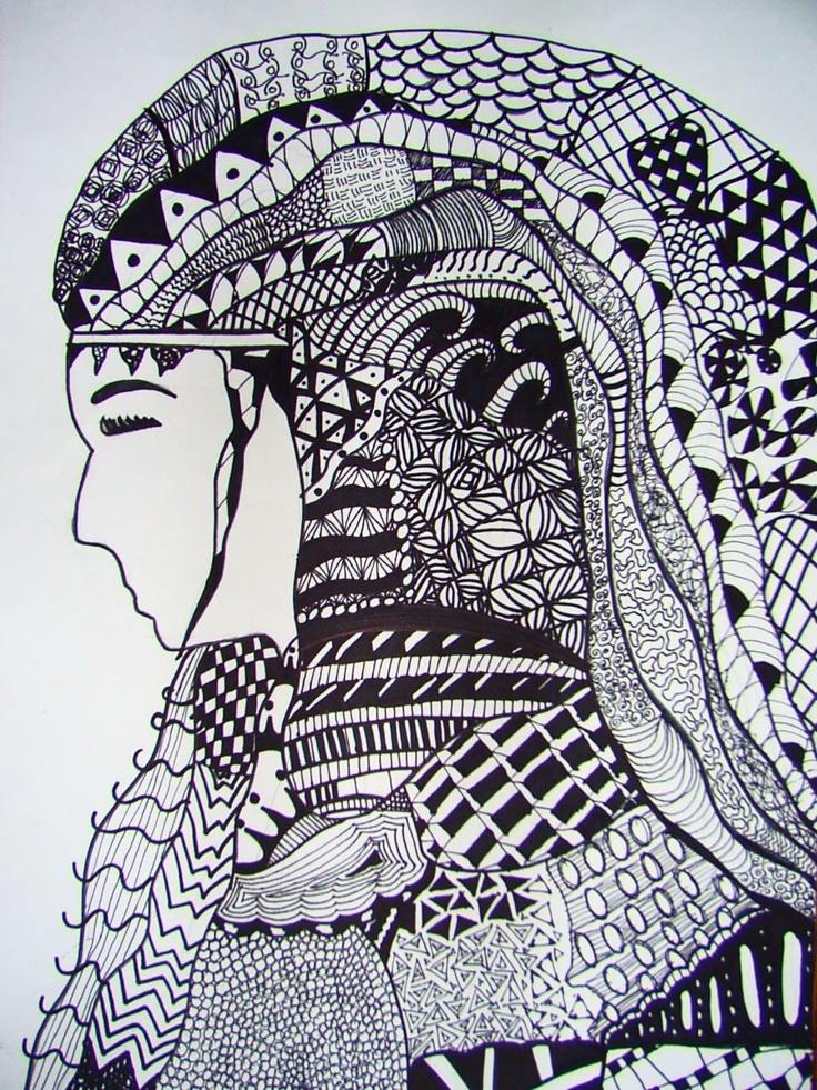 Line Design Art Activities : Zentangle hair student work ashley my middle school