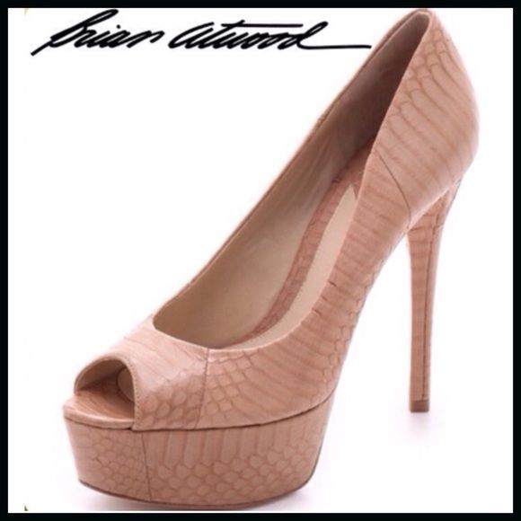 HP SALE!!! Brian Atwood Peep-toe Pump The perfect summer peep-toes! A neutral pump gets an exotic update with slick snakeskin covering the sides, platform, and stiletto heel. Leather sole. Brand new in box including dust cloth. B Brian Atwood Shoes