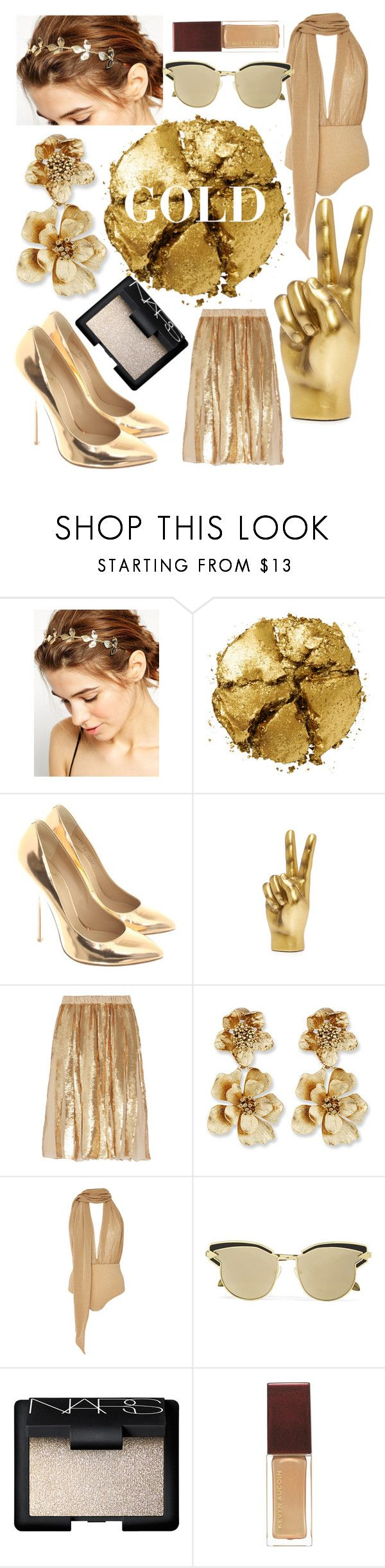 """nothing gold can stay"" by vperkins9 ❤ liked on Polyvore featuring WithChic, Pat McGrath, Giuseppe Zanotti, TIBI, Oscar de la Renta, Água de Coco, Karen Walker and NARS Cosmetics"