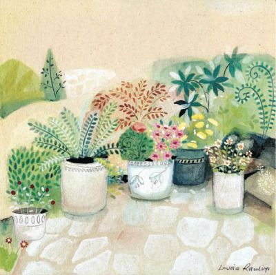 """""""Pots of Love"""", art greeting card by Louise Rawlings.  The card is left blank inside for your own greeting."""