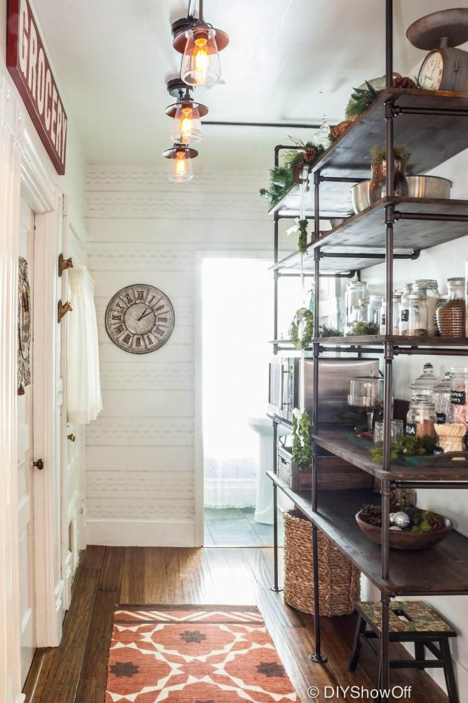 DIY industrial shelving becomes a hallway pantry - brilliant!!!