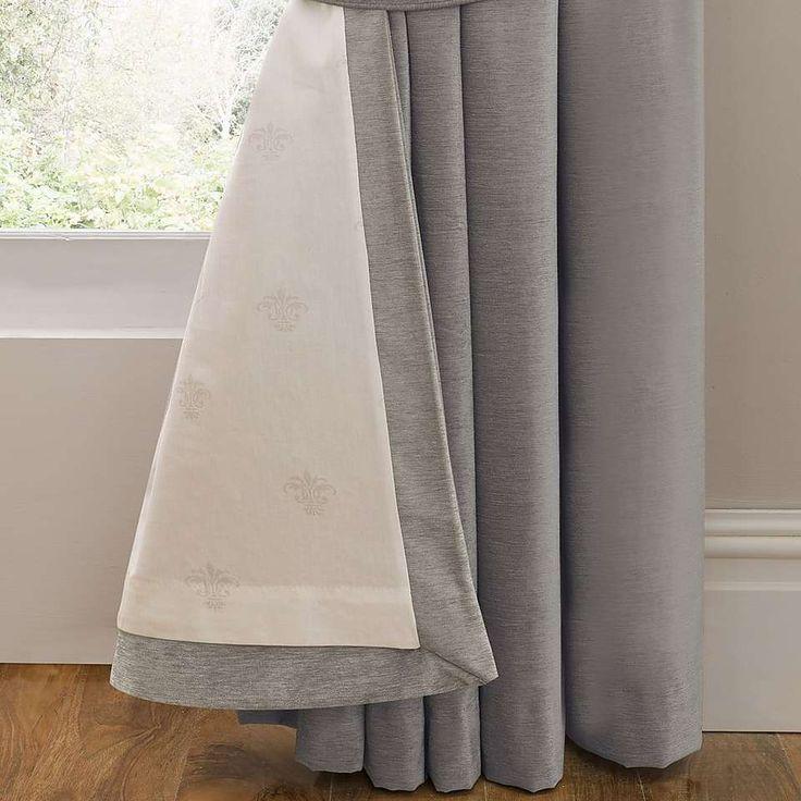 Dorma Lymington Grey Lined Eyelet Curtains   Dunelm