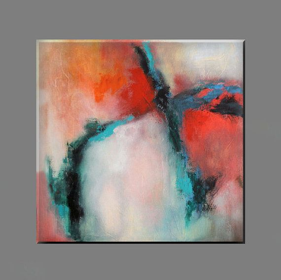 "FREE SHIPPING - Acrylic painting 70x70 cm, 28"" x 28"",modern painting, abstract, wall decor red, blue, black, white"