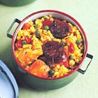 Snelle paella met chorizo en kip
