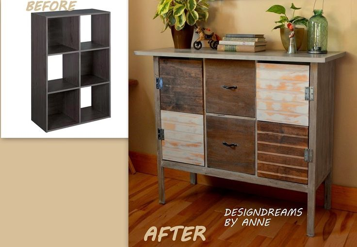 Using stained and painted bead board for an Upcycling an Upcycled Cube Shelf via DesignDreams by Anne