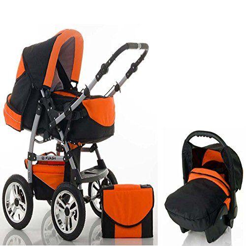 CALIDAD Sistemas de viaje 3 en 1 FLASH: Carrito + Silla de paseo + Asiento del coche - Todo incluido - Mucho accesorios de color Negro-Naranja  #carritosbebe