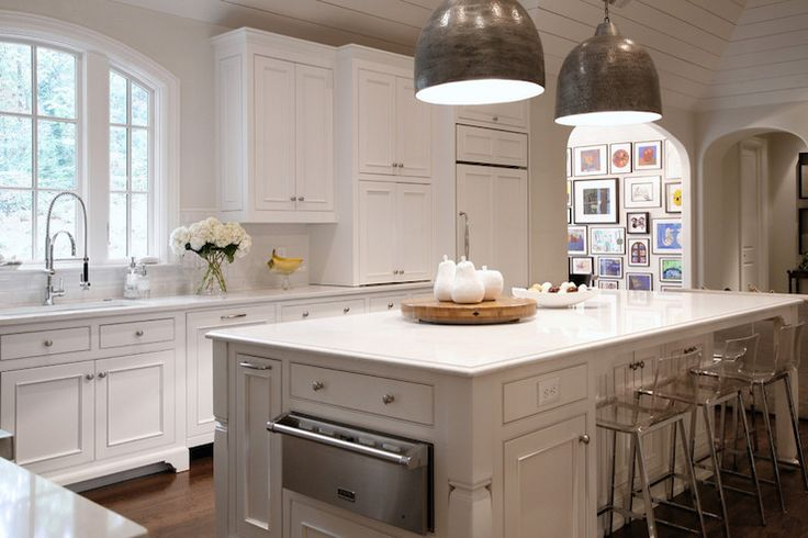 Kitchen Island with Warming Drawer, Transitional, Kitchen, CR  Home Design