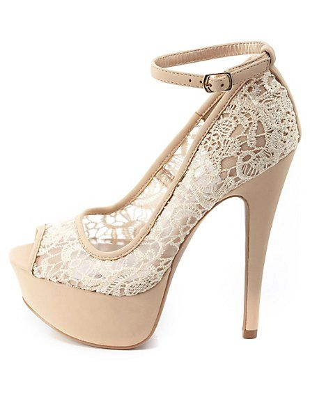 My latest purchase! In love!!!Lace Peep Toe Platform Pumps: Charlotte Russe