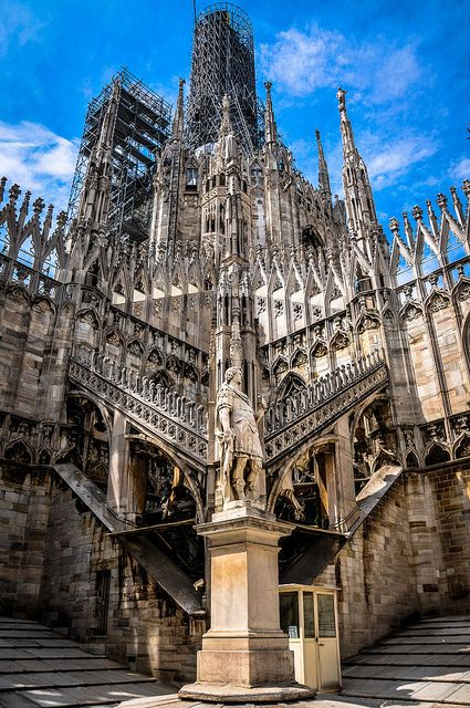 Sculpture and Courtyard on the Terrace of the Duomo di Milano (Milan Cathedral) Milan, Italy