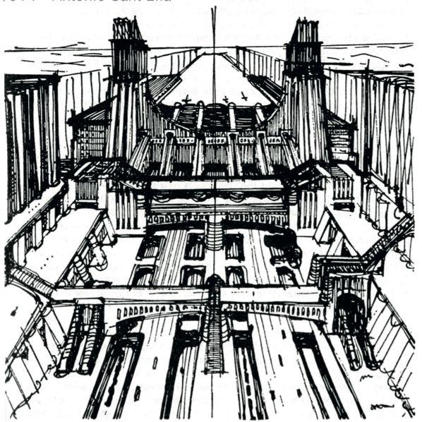 """""""La Città Nuova"""" (The New City) - Antonio  Sant'Elia - 1914. From, """"Il Manifesto dell'Architettura Futurista"""" (Futurist Architecture Manifesto)"""