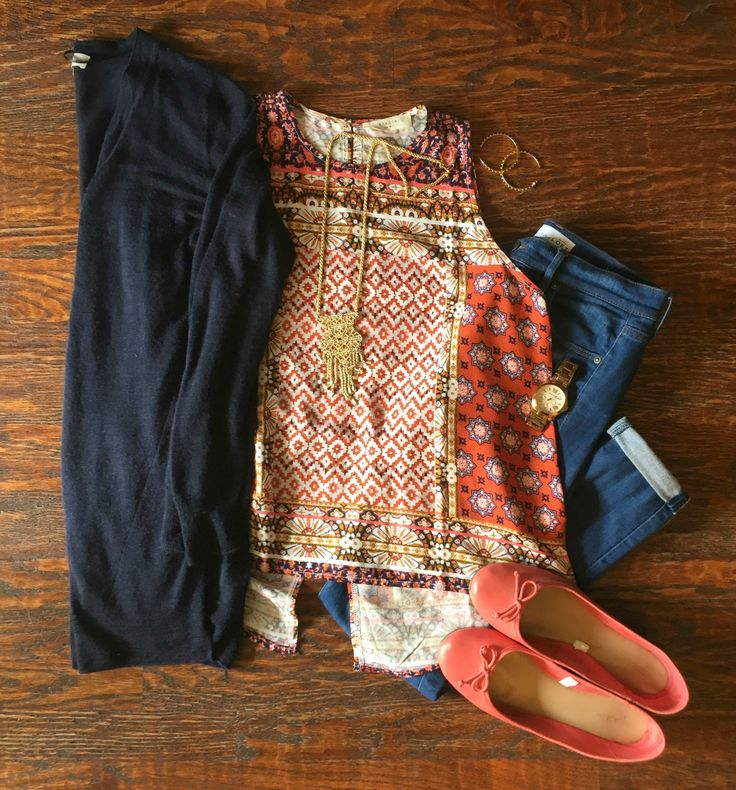 Insta-Style: Five Days of Casual Fall Outfits  : Outfit #4:  Printed Tank + Cardigan + Cuffed Jeans + Bright Flats #dailymomstyle #easyoutfits #packinglists #style #getyourprettyon