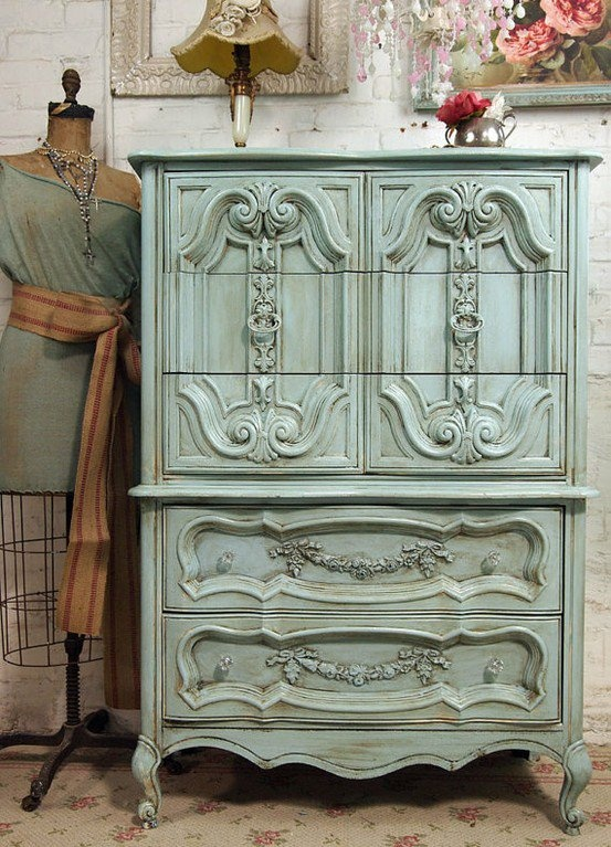 Lovely Furniture / Vintage Painted Cottage Chic Shabby Aqua French By  Paintedcottages.