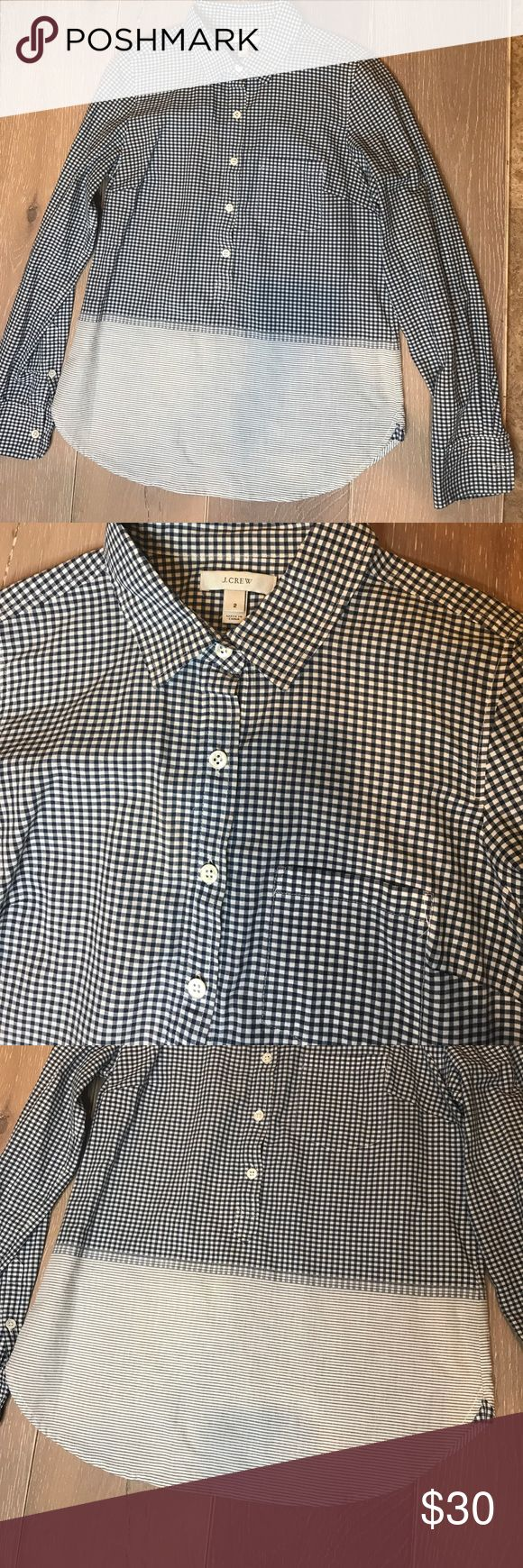Popover button up shirt. Small Gingham print with stripes bottom half  Shirt pocket J. Crew Tops Button Down Shirts
