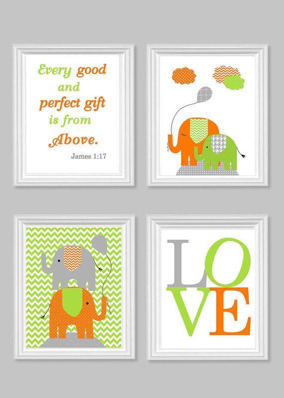 canvas prints for baby room. Elephant Nursery Art Lime Green Gray Orange By SweetPeaNurseryArt Canvas Prints For Baby Room T