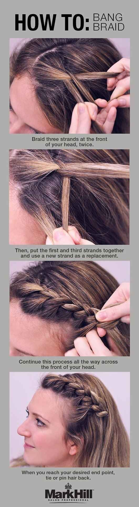 The bang braid is your solution to keeping annoying mid-level bangs off your face.