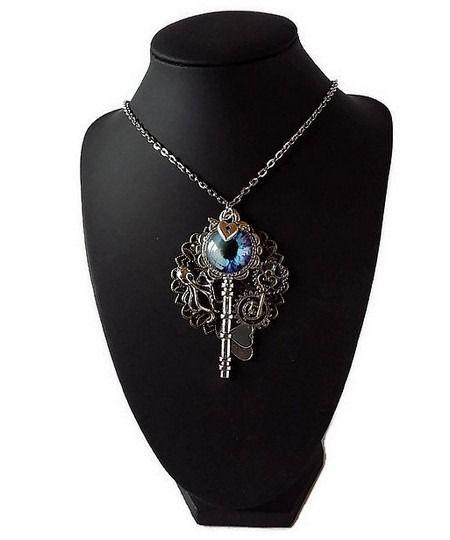 collier pendentif steampunk clé oeil chaîne maillons métal argenté : Collier par mamiechantal-screations