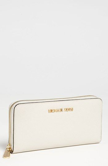 MICHAEL Michael Kors 'Jet Set' Saffiano Zip Around Wallet available at #Nordstrom