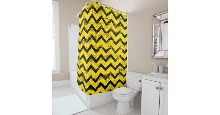 Yellow and Black Chevron Pattern Shower Curtain