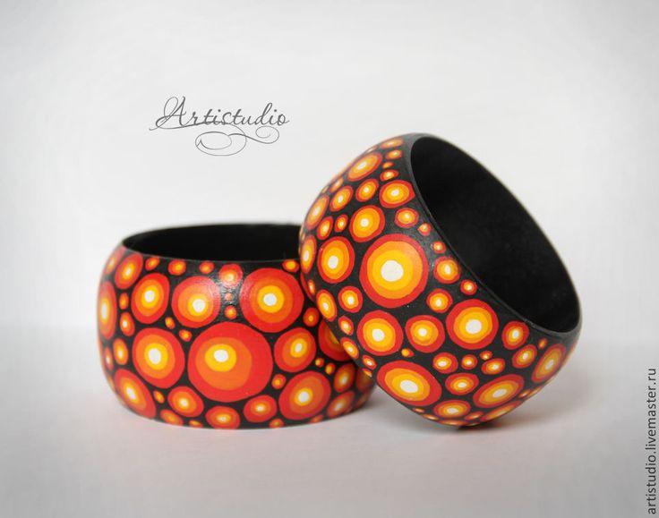"""Купить Браслет """"Огонь"""" - оранжевый, браслет, деревянный браслет, роспись, Роспись по дереву, браслет с росписью"""