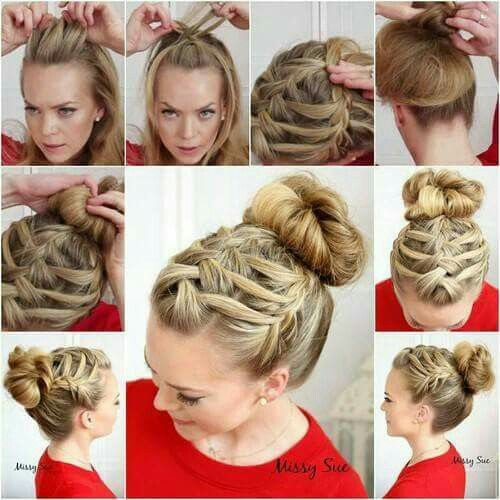 Super cute braid bun♡