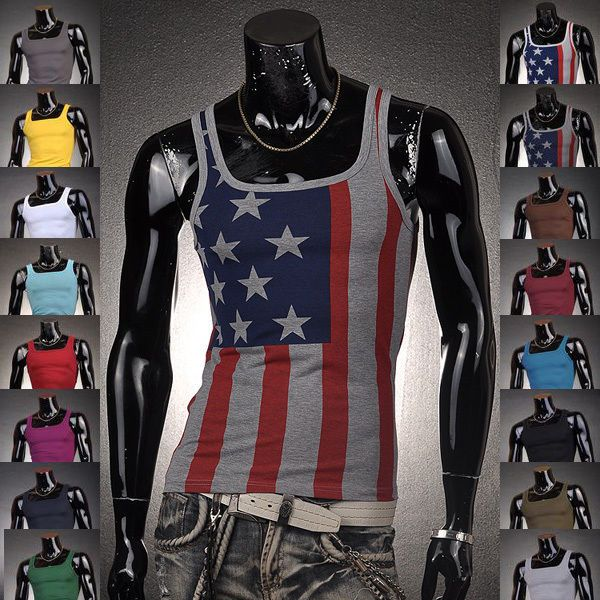 Fashion Designer Mens Shirt Vest Undershirt Tank Top Slim Sexy US Flag Printed #Jeansian #GraphicTee