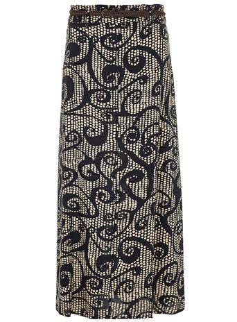 Bracade possible pattern  Navy Mono Print Maxi Skirt