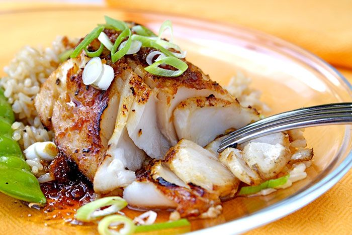 Truly delicious black cod in a light honey-soy glaze. Perfect delicate dinner for a hot summer night.