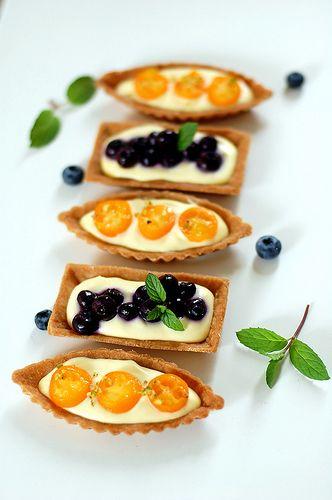 Blueberry & Kumquat Cream Cheese Tarts with Graham Cracker Crust
