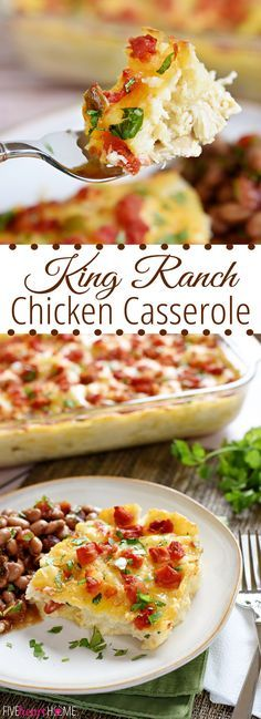 King Ranch Chicken Casserole ~ a comfort food classic layered with chicken, tortillas, cheese, and a simple homemade sauce in place of condensed 'cream of X' soup   FiveHeartHome.com