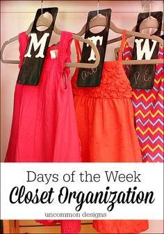Days of the Week Closet Organizers. Ease school morning stress with these DIY functional and adorable chalkboard clothing dividers.