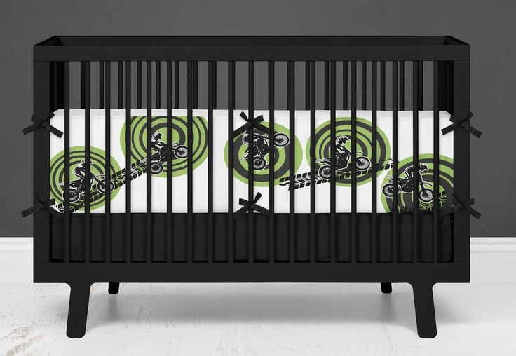 "Motocross Baby Bedding Green ""MX Rider"" Crib Set from Extremely Stoked Motocross Baby"