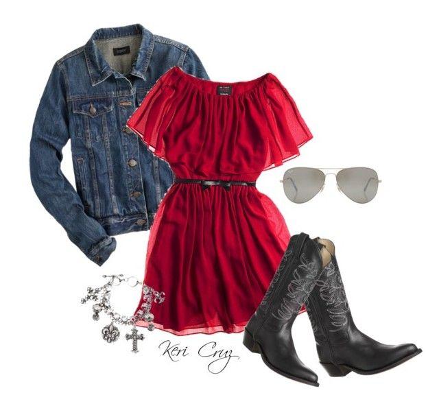 """Little Red Rodeo"" by keri-cruz ❤ liked on Polyvore featuring moda, J.Crew, Giambattista Valli, Tony Mora, M&F Western y Rayban"