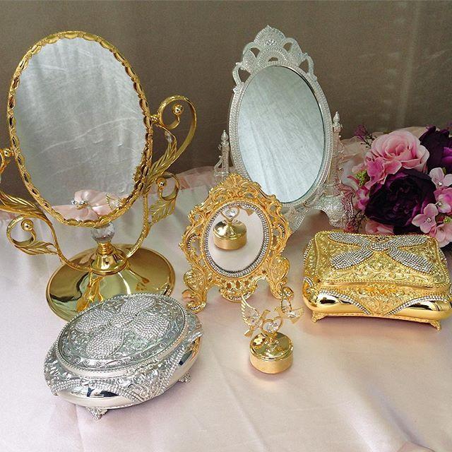#mulpix Yatak odalarınız için çok şık makyaj aynaları ve kristal taşlı mücevher kutuları💎🎀