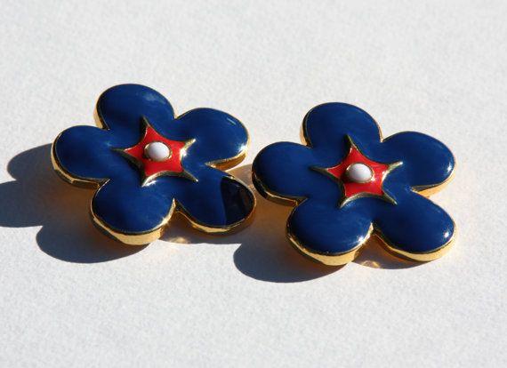 Escada Blue flower enamel Clips by StacyTreasure on Etsy