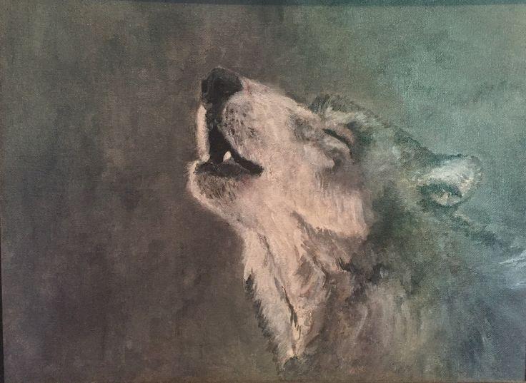 Акрил. Воющий волк
