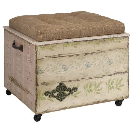 This versatile storage ottoman is perfect for stowing throws or offering an extra seat to your guests. With an antiqued wallpaper-inspired motif and tufted c...