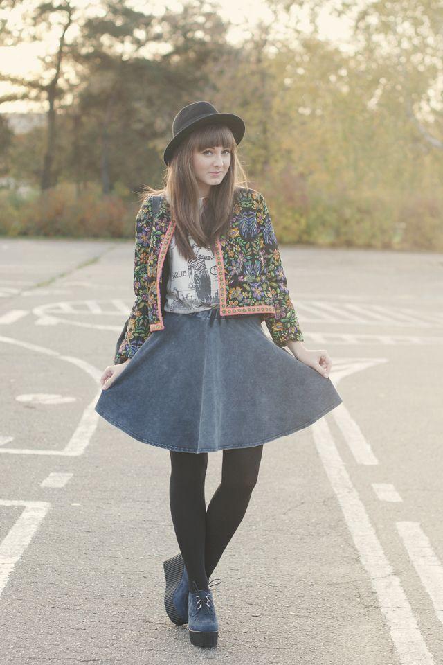 Maddinka: Patterned Vintage Cardigan + A-Line Denim Skirt + Platform Wedges  / Wedge