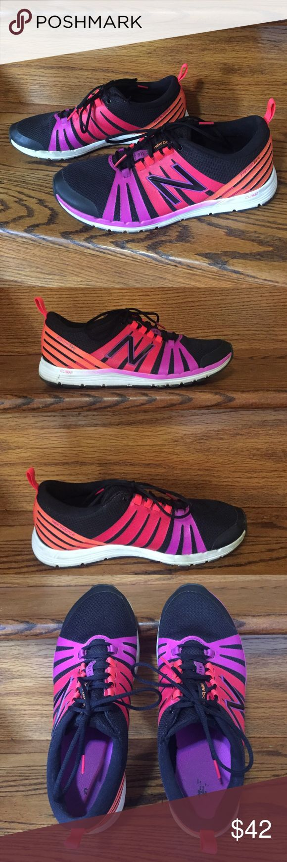 Super Cute Women's NB Size 9.5B New Balance brand. Size 9.5B (B is regular width). WX811BM. Black, purple, pink, orange, white. In good condition! Just need to get rid of some shoes. These have a no-slip tongue (that means it is attached to the shoe on one side). ✨Make an offer if you don't like the price.✨ New Balance Shoes Athletic Shoes