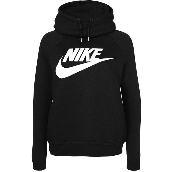 Nike W Nsw Rally Hoodie Gx1 ($75) ❤ liked on Polyvore featuring tops, hoodies, nike hoodies, drawstring hoodie, cotton hoodies, nike and logo hoodie