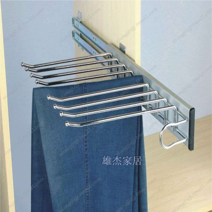 Multifunktionell garderob garderob sidan av bilden byxorna rackmonterad glidande byxorna rack drar byxor modeller hängare-$16.33