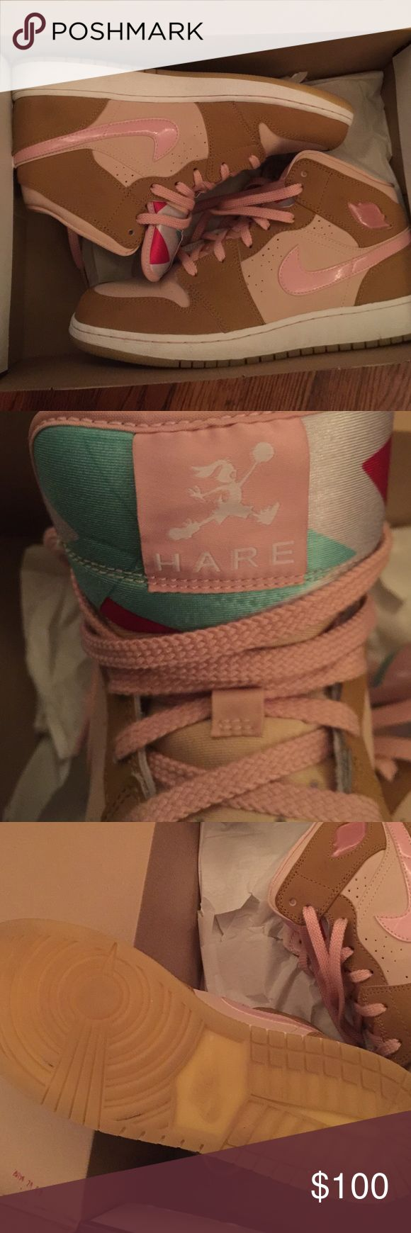 Retro Nike Jordan Hare 2 y 7 Previously worn, well preserved, 100% authentic Jordan Hare 1 in pink/wheat. Box included. Jordan Shoes Athletic Shoes