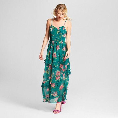 6dd694d6cade Women s Floral Print Chiffon Maxi Dress - Xhilaration™ Green   Target