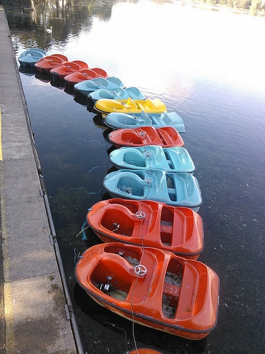 Colorful pedalo boats. Lets not argue whose driving now! #nutmegcomp