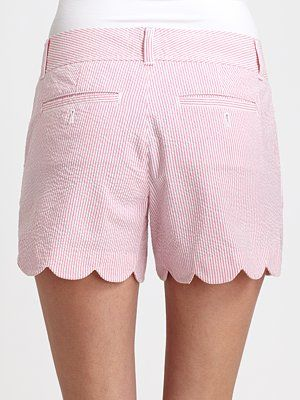 """Lilly Pulitzer  """"Buttercup"""" scalloped shorts in pink seersucker"""