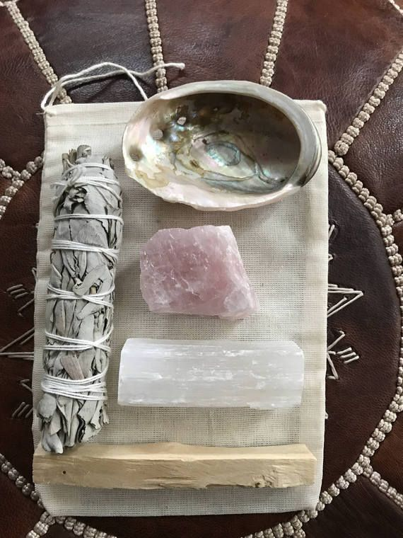 Protection Set Crystal Tumblestones Smudge Stick Selenite Crystal Wands